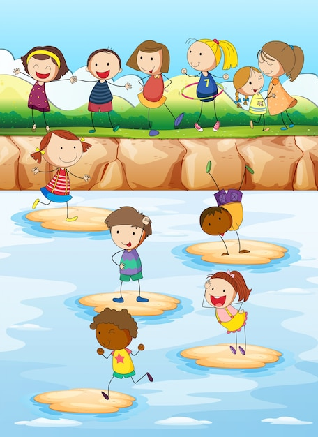 Children playing on the cliff Premium Vector