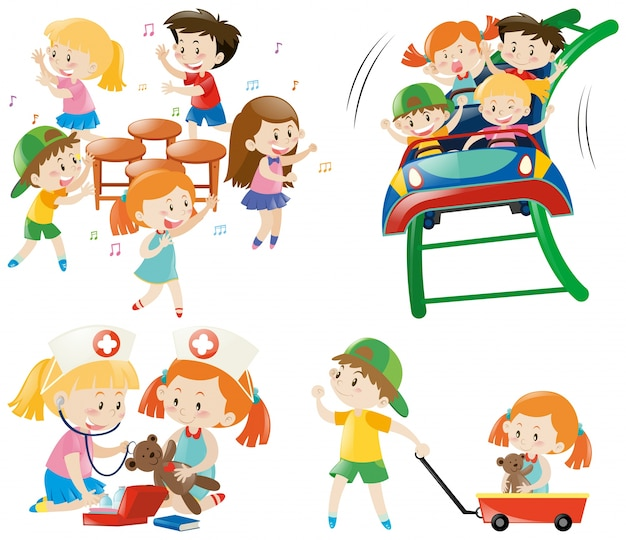 Children Playing Different Games Vector Free Download