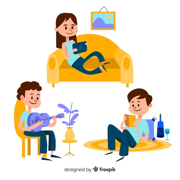 Children playing and doing activities at home. character design Free Vector