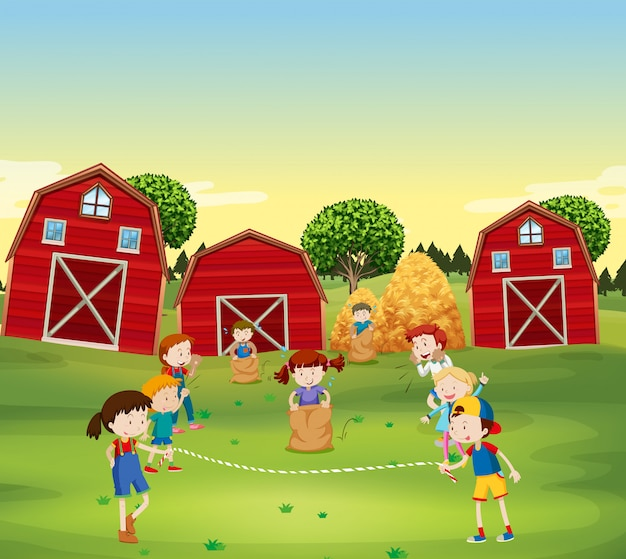 Children playing game in the field Free Vector