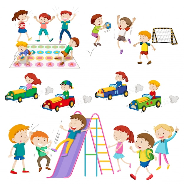 Children playing games and sports\ illustration