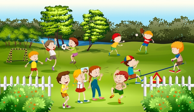 Children playing games in the park Free Vector