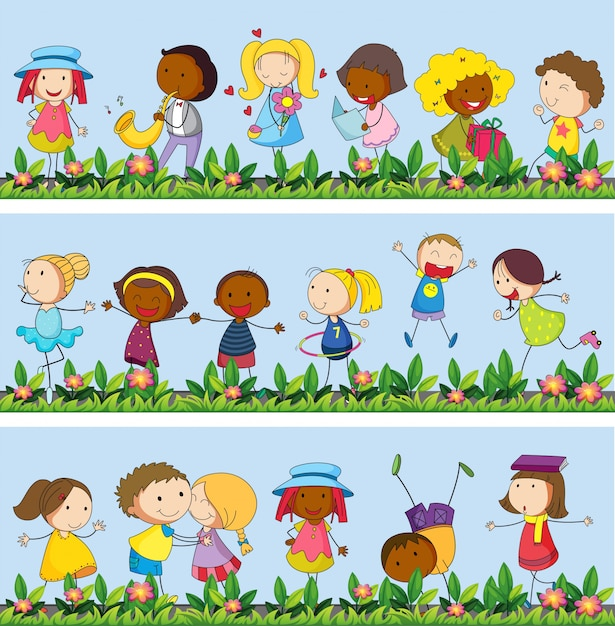 Children playing in the garden illustration Free Vector