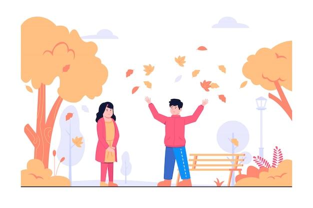 秋の概念図で遊ぶ子供たち Premiumベクター