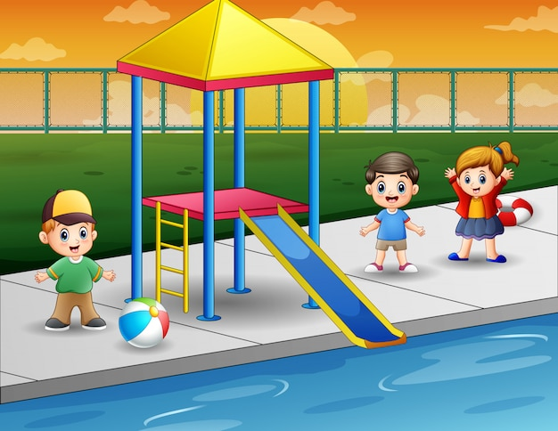 屋外スイミングプールで遊んでいる子供たち Premiumベクター
