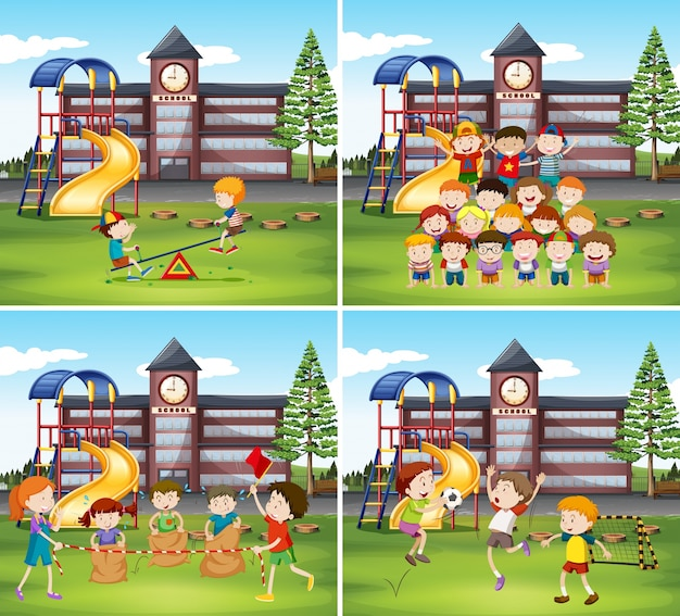 Children playing in the school ground Premium Vector