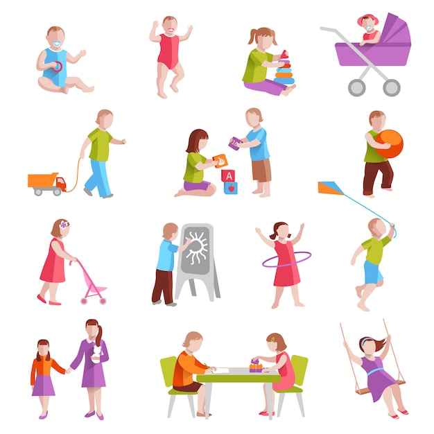 Children playing indoors and outside flat characters set isolated vector illustration Free Vector