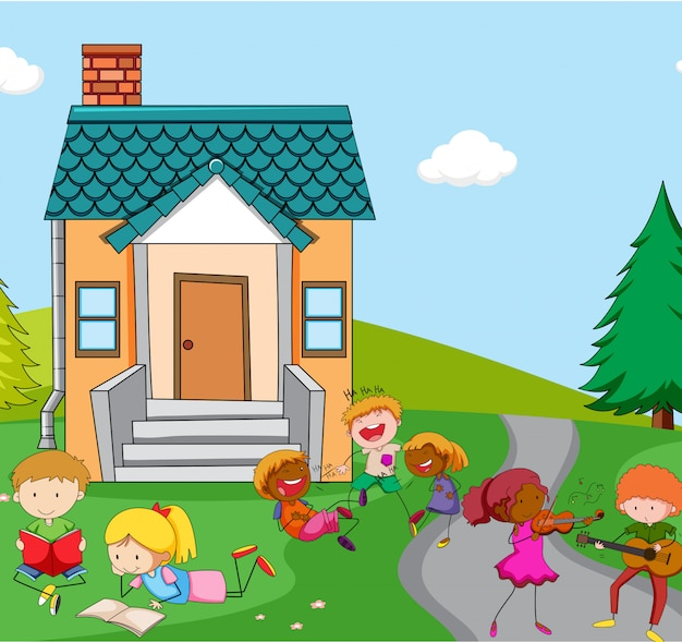 Children playing infront of house Free Vector