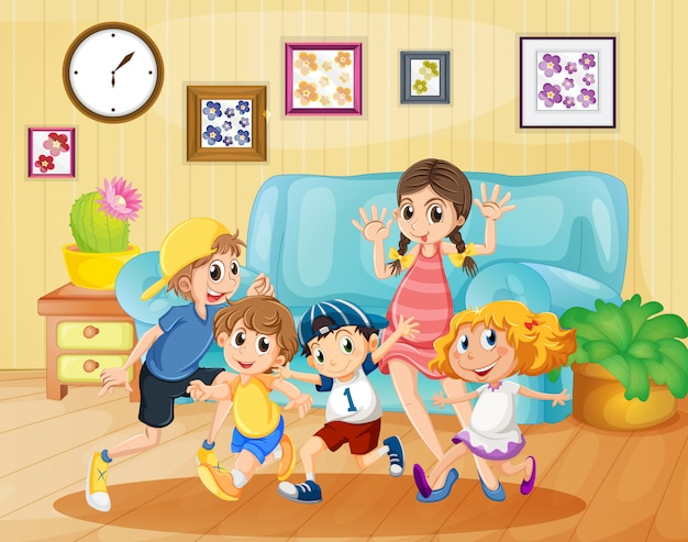 Children playing in the living room Free Vector