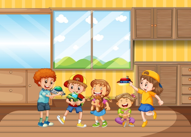 Children playing in living room Free Vector