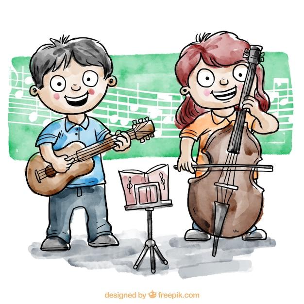Bambini che giocano uno strumento musicale Vettore gratuito