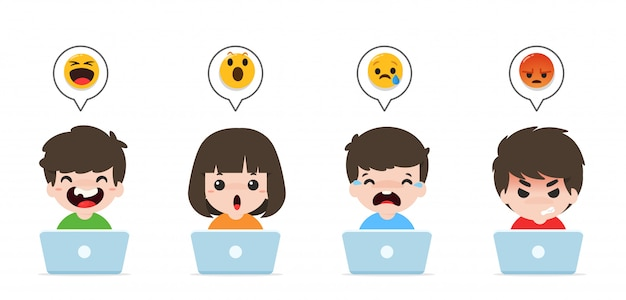 Children playing notebooks and emoticons for laughing, excited, crying, and angry Premium Vector