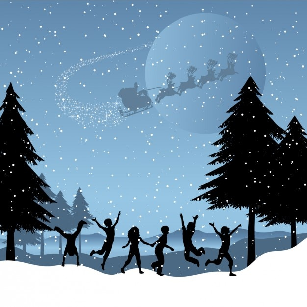 Children playing on the snow christmas\ background