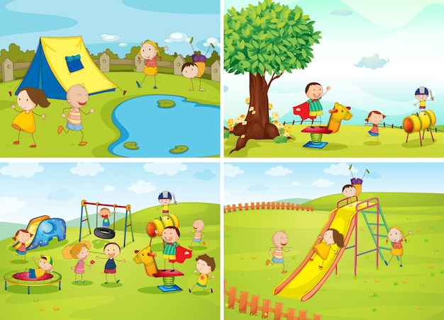 Map Pin In A Map Free Vector Instantshift Beautiful Free: Children Playing In The Park Vector