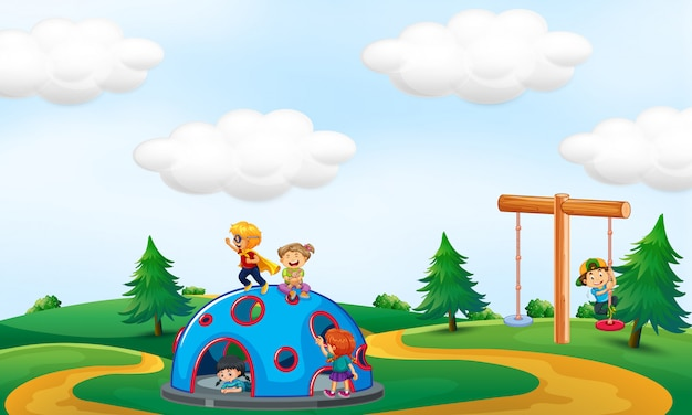 Children playing at the park Premium Vector