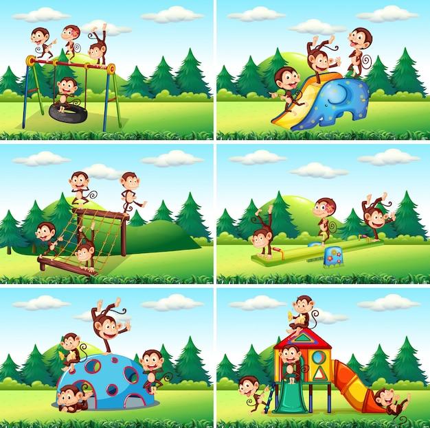 Children playing at playground illustration Premium Vector