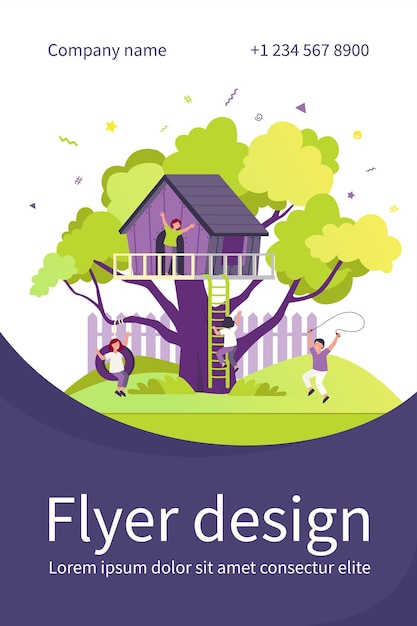 Children playing in playground with treehouse. boys and girls enjoying summer vacation, having fun in house on tree. flyer template Free Vector