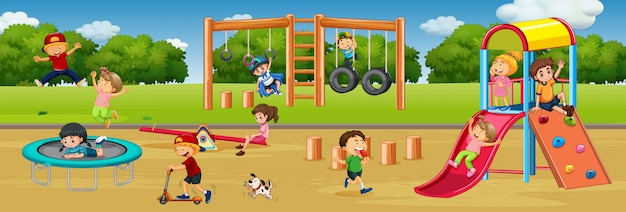 Children playing at playground Free Vector