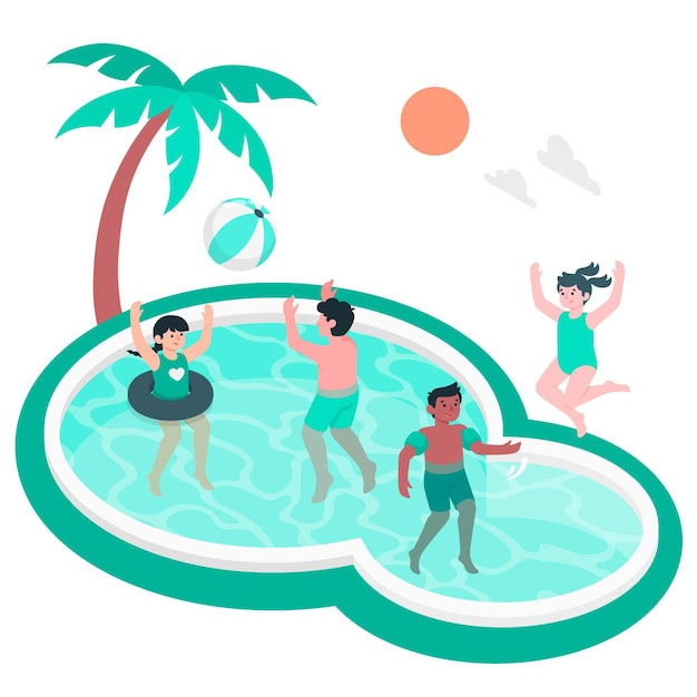 Children playing in the pool concept illustration Free Vector