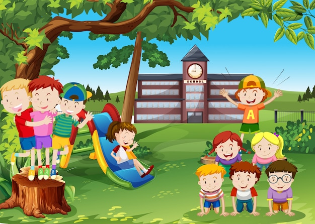 Children playing in the school yard Free Vector