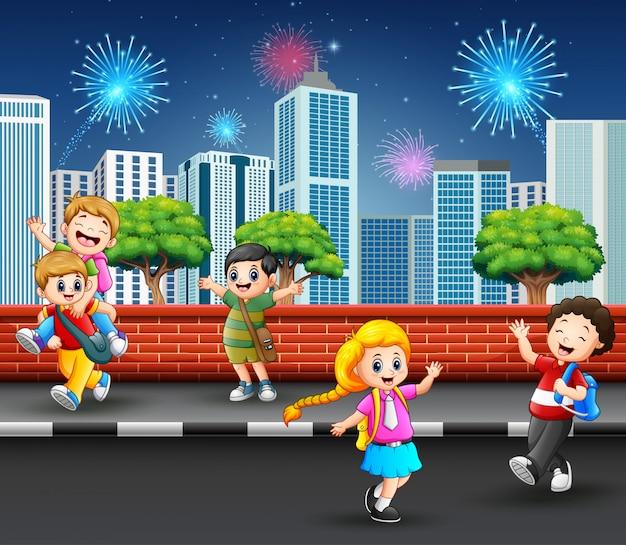 Children playing on the street sidewalk concept cityscape Premium Vector
