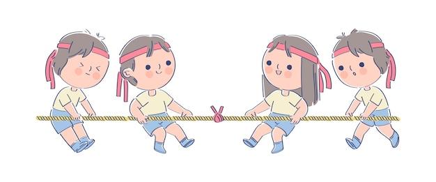 Дети занимаются спортом на японском фестивале Бесплатные векторы