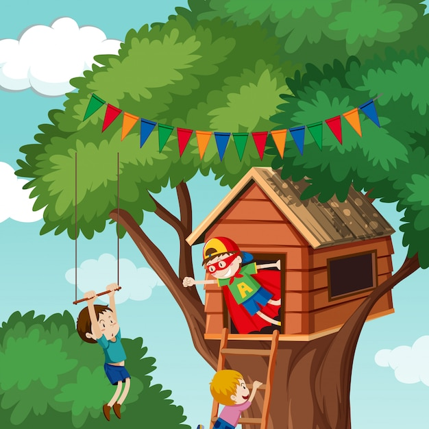 Children playing at tree house Premium Vector