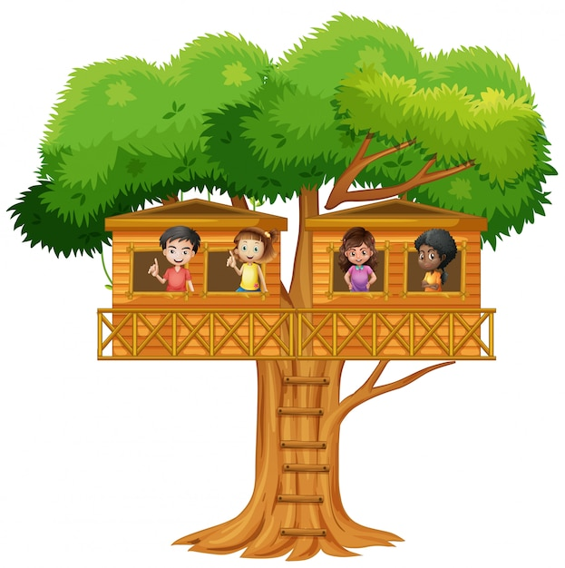 Children playing in the treehouse Free Vector