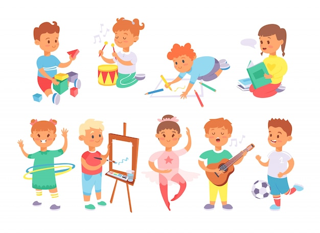 Children playing tug of war at the park Premium Vector