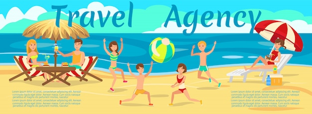 Children playing with ball on beach Premium Vector