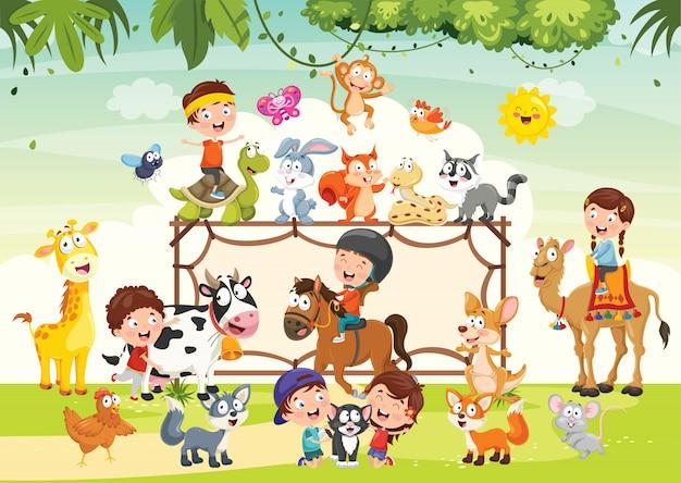 Дети играют с забавными животными Premium векторы