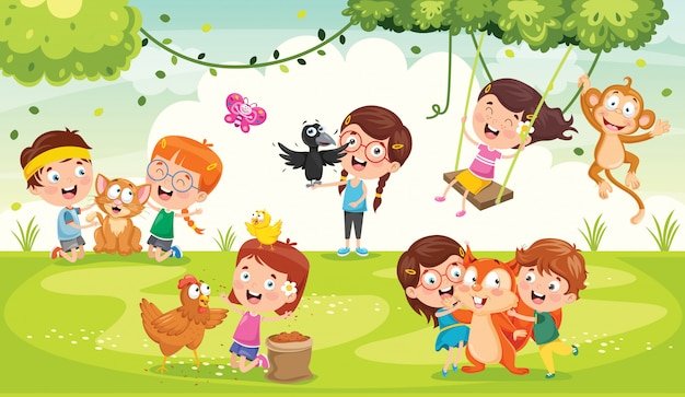 Children playing with funny animals Premium Vector