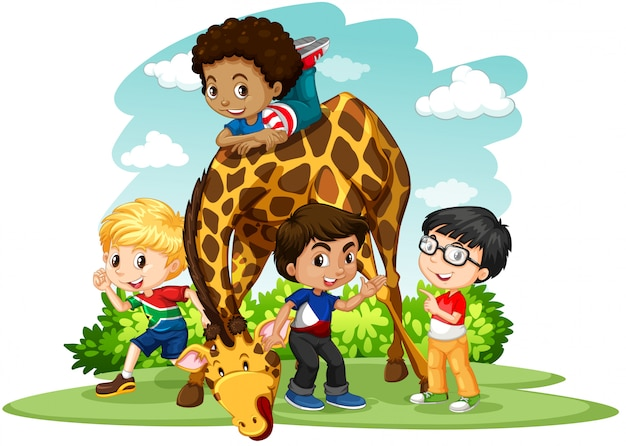 Children playing with giraffe Free Vector