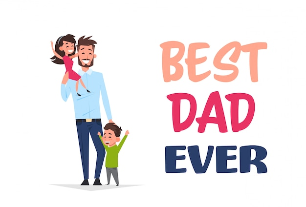 Children playing with their father Premium Vector