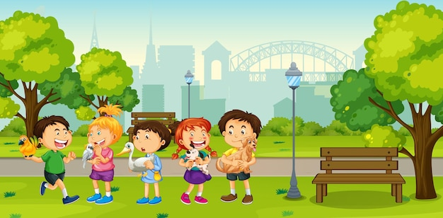 Children playing with their pets in the park scene Free Vector