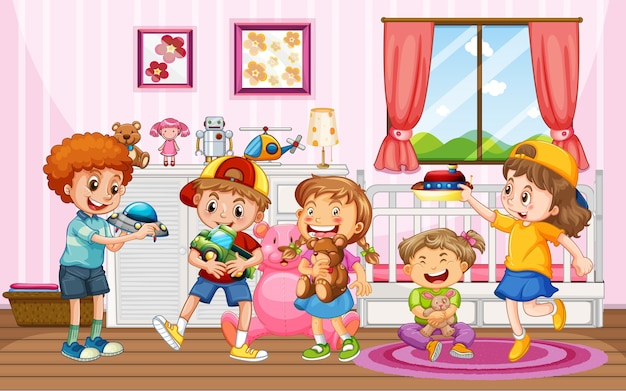 Children playing with their toys at home scene Free Vector