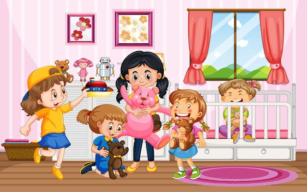 Children playing with their toys at home scene Premium Vector