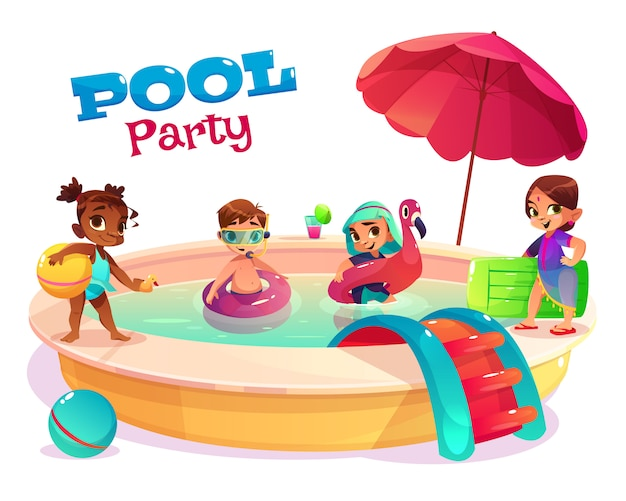 Children pool party cartoon vector concept with multinational boys and girls in swimsuits Free Vector