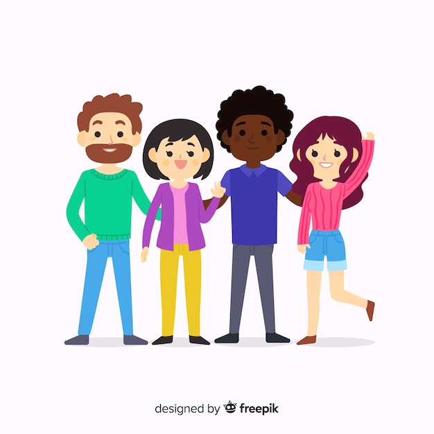 Children posing for a photo Free Vector