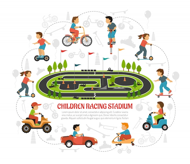 Children racing stadium composition Free Vector