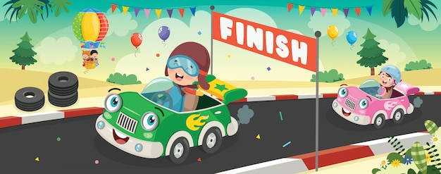 Children racing with funny cars Premium Vector