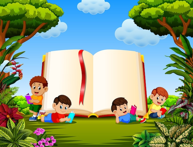 Children reading the book in the different posing with the big book in the garden Premium Vector