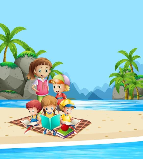 Children reading books on the beach Free Vector