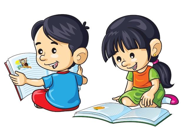 Children reading books Premium Vector