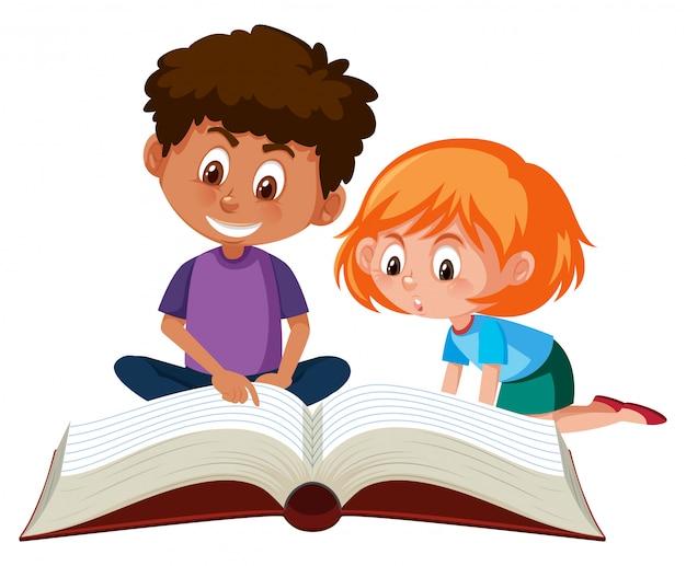 Children Reading A Giant Book Vector Premium Download
