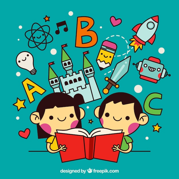 Children reading wonderful stories in linear style Free Vector