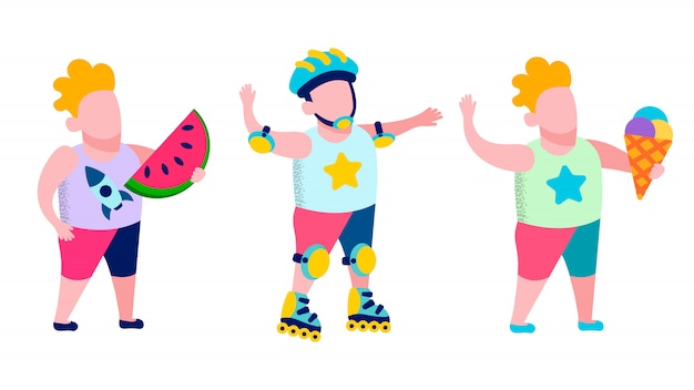 Children recreation and tasty snack outdoors card Premium Vector