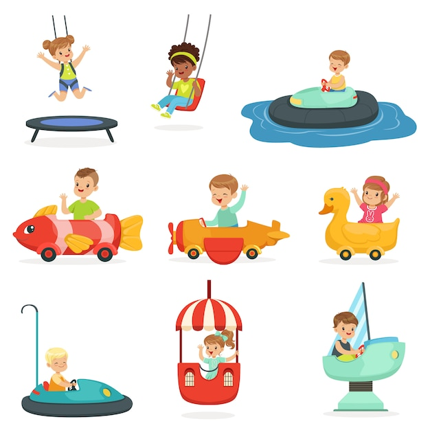 Children ride on attractions in the amusement park, set for  . cartoon detailed colorful illustrations Premium Vector