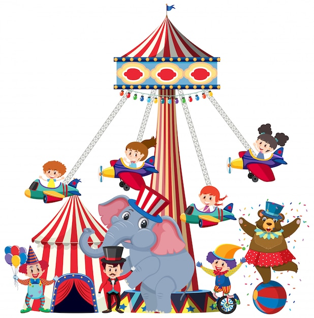 Children riding on airplane swing at the circus Premium Vector