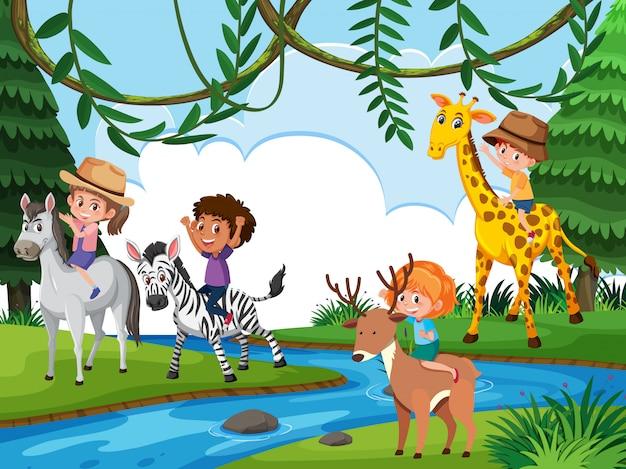 Children riding animal in nature Premium Vector